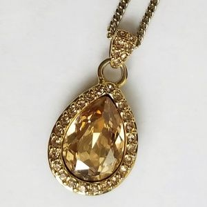 Vintage Givenchy Tear Drop Crystal Necklace